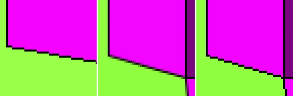 Fig. 9. (left) Screenshot of the original artwork featuring a sharp image where each pixel can be seen individually, resulting in staircase-like steps in the pixelation of diagonal lines. Courtesy of Karl Toby Rosenberg, ©Solomon R. Guggenheim Museum  Fig. 10. (middle) When using JavaScript's default graphics library, Canvas 2D, the edges of shapes and lines are blurred. Courtesy of Karl Toby Rosenberg, ©Solomon R. Guggenheim Museum  Fig. 11. (right) After the replacement of JavaScript's default library with custom WebGL 1.0, the restoration code faithfully recreates the pixelated look of the original artwork. Courtesy of Karl Toby Rosenberg, ©Solomon R. Guggenheim Museum